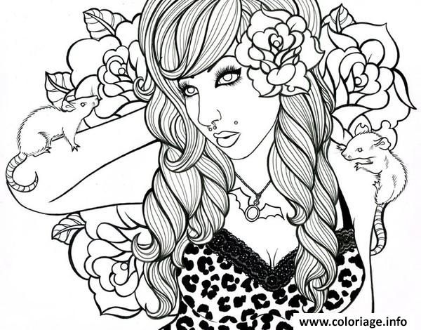 coloriage adulte femme roses rats punk dessin imprimer. Black Bedroom Furniture Sets. Home Design Ideas