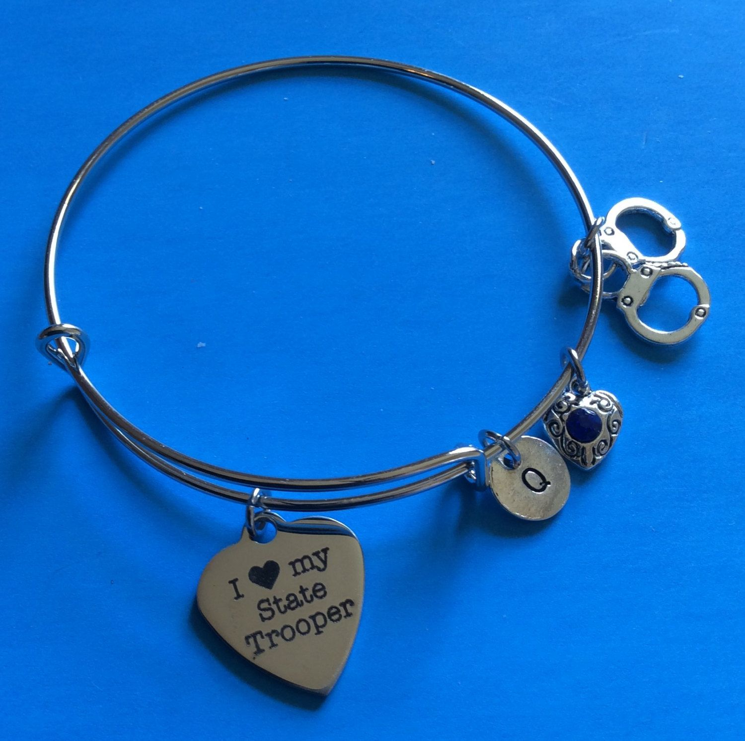 9e7d3fa585a08 State Trooper Charm Bracelet,Personalized, Police Wife Gift, Gift ...