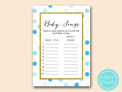 tlc430 b baby song list boy blue dots baby shower game gold