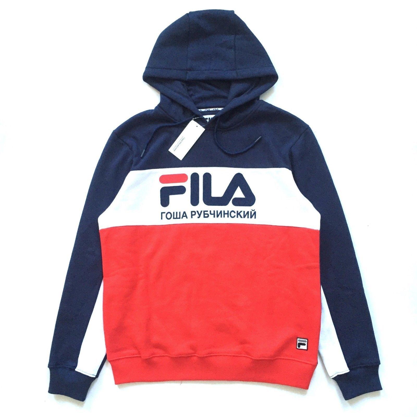 fila hoodie mens. nwt gosha rubchinskiy x fila men s flag logo hoodie sweatshirt m l xl authentic | ebay mens i