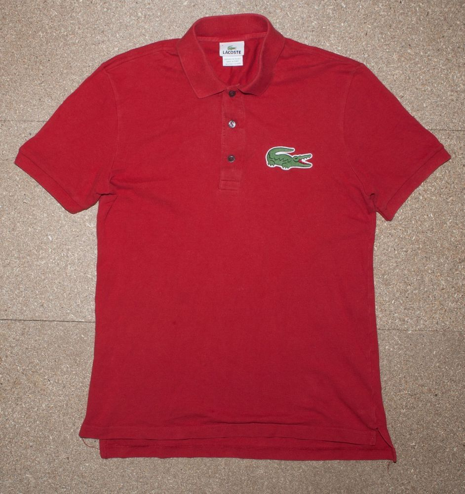 02ee11eeb Authentic Lacoste Big Croc Logo Red Polo Shirt Vgc 3 Small