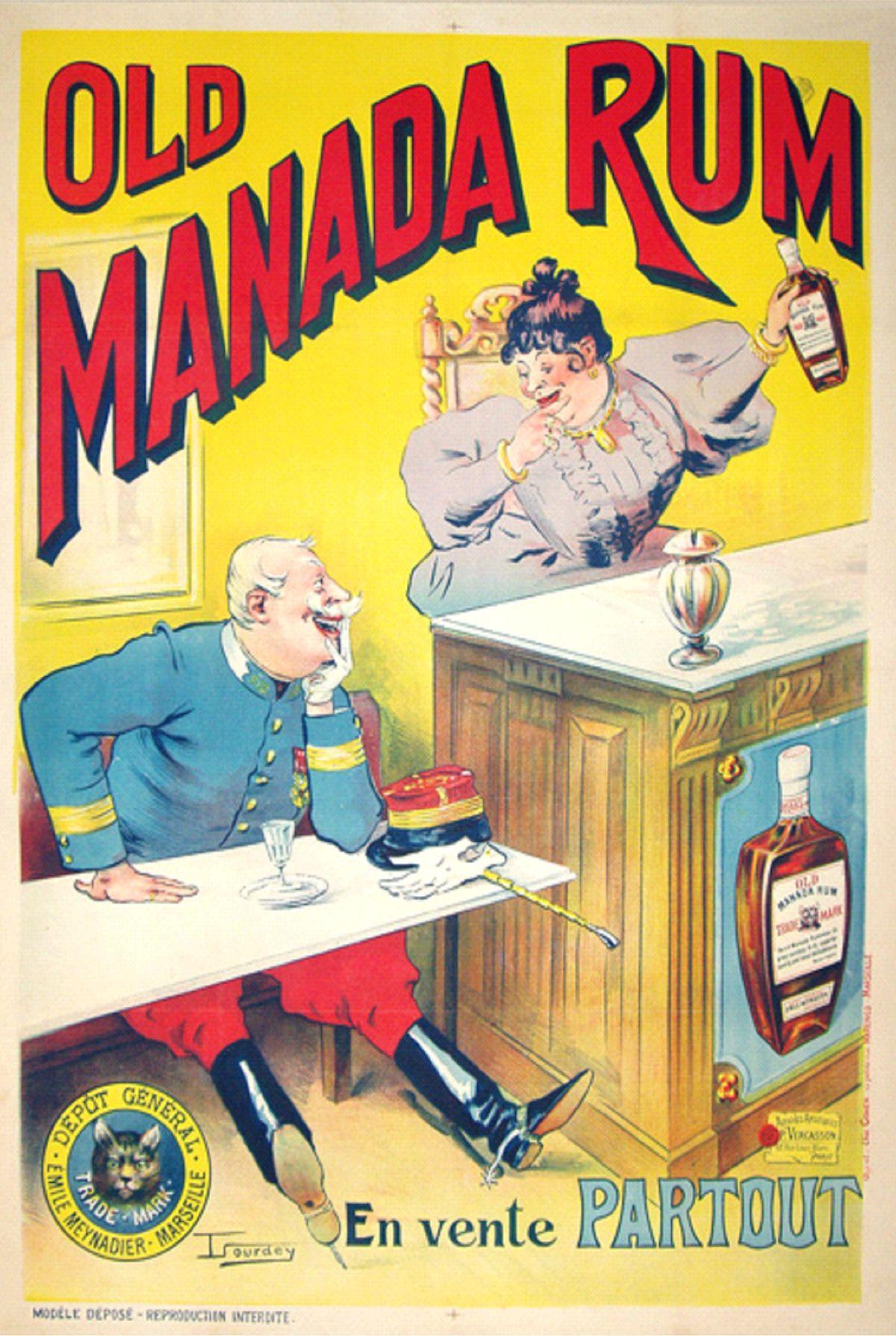Old Manada Rum Vintage Poster 1895