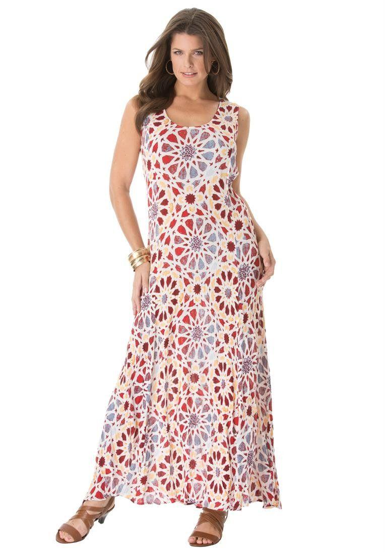 Roamans Women\'s Plus Size A Line Crinkle Maxi Dress at ...