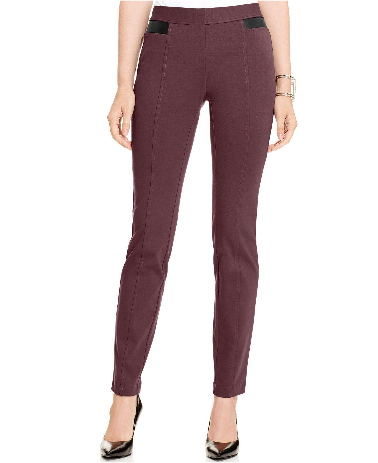bfe985c259 Pantalones Alfani Faux-piel-Trim panza-Control
