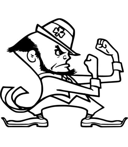 Notre Dame Leprechaun Coloring Page Notre Dame Mascot Fighting Irish Logo Football Coloring Pages