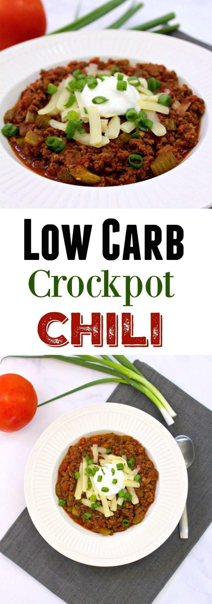 A Low Carb Gluten Free Crockpot Chili recipe with amazing seasonings and flavors, without…
