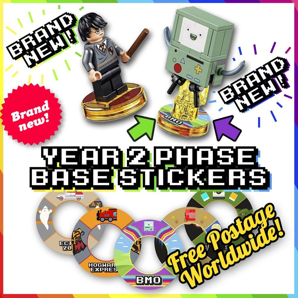 new year 2 lego dimensions base stickers 18 more designs to label blank bases