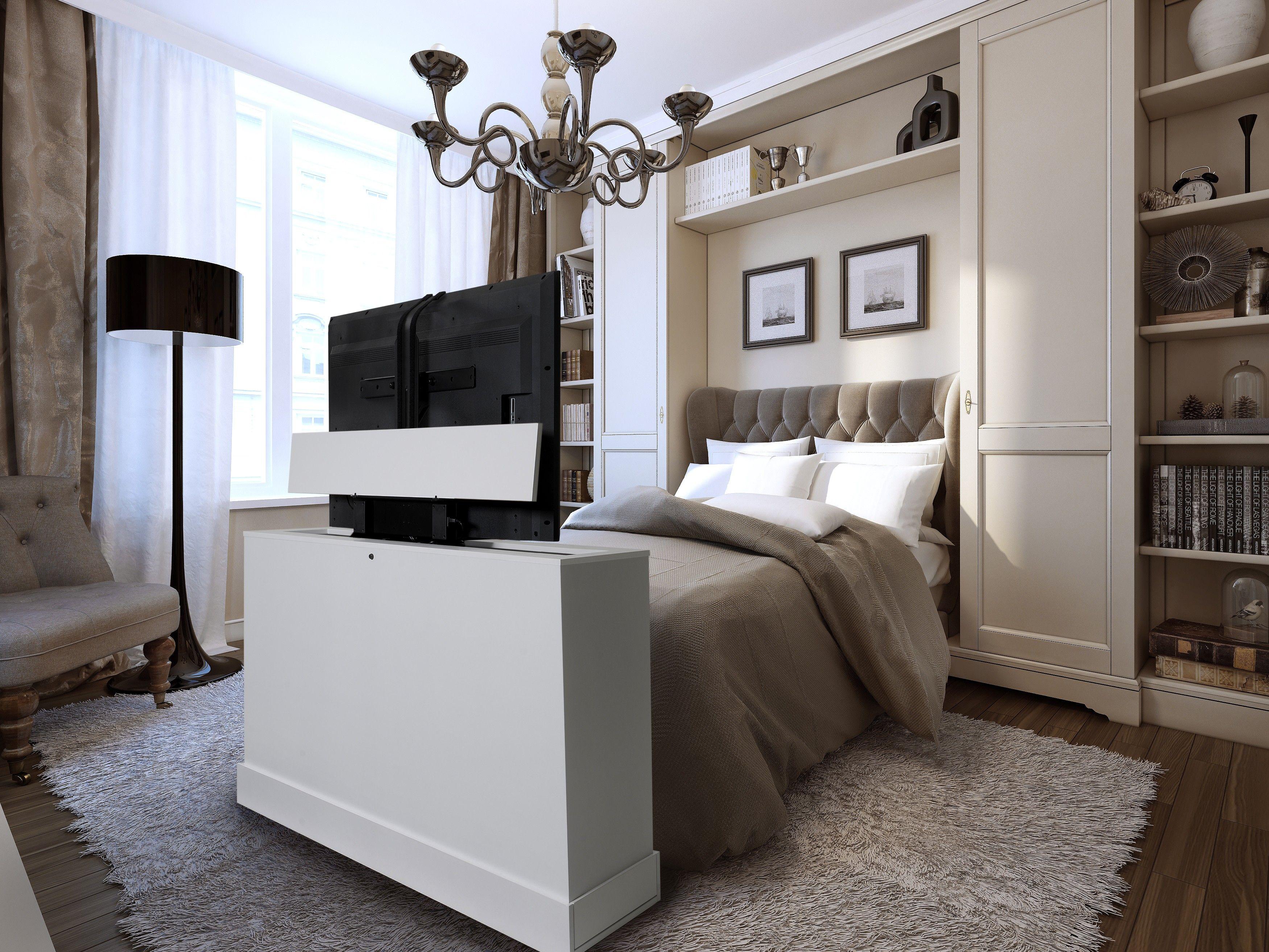 Azura 360 Degree Swivel In White Finish Tv Lift Cabinet Tv Lift