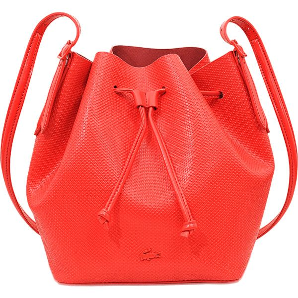Lacoste Chantaco Bucket Bag ($210) ❤ liked on Polyvore featuring bags, handbags, shoulder bags, red, bucket bag, red shoulder bag, lacoste purse, lacoste and lacoste handbags