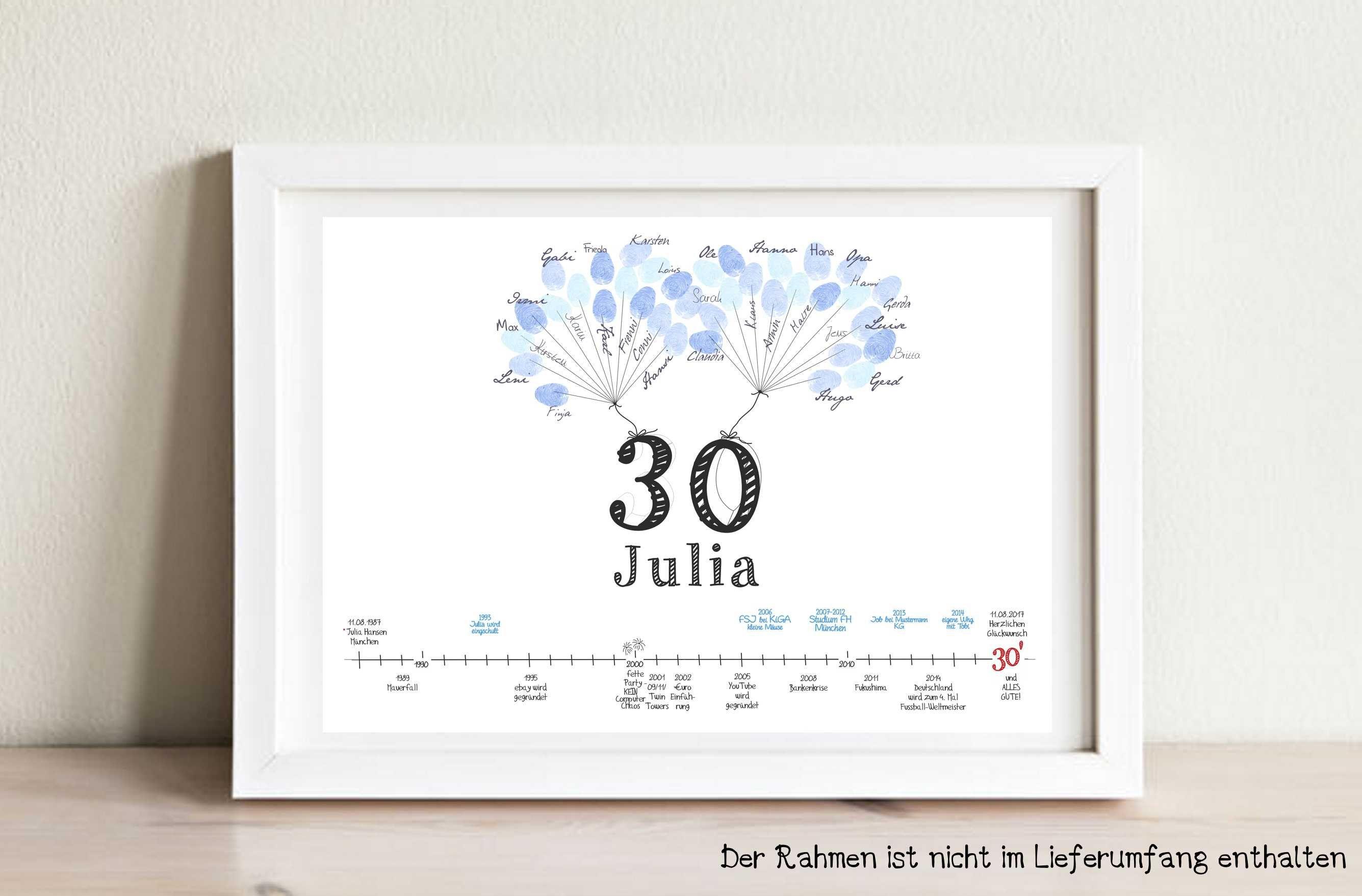 30 Geburtstag Gastebuch A3 Fingerprint Geschenk