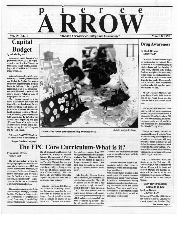 Pierce Arrow March 8 1990 Core Curriculum Curriculum Budgeting