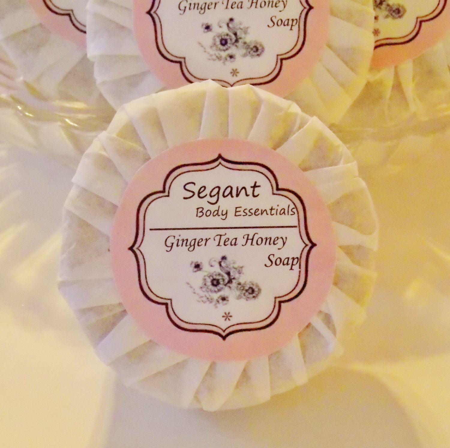 Ginger Tea & Honey round scalloped soap. $3.25, via Etsy.