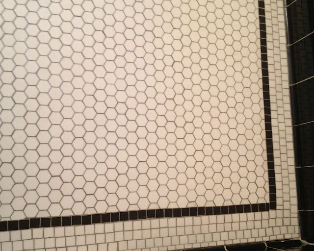 Hex floor with a mosaic border vintage bathrooms for 1930s floor tiles