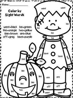 Fall/Halloween Frankenstein Pumpkin - Color by Sight Word ...