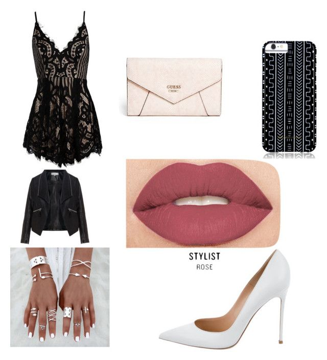 """""""gradually"""" by yarlin-perez on Polyvore featuring Zizzi, Sans Souci, Gianvito Rossi, GUESS, Savannah Hayes and Smashbox"""