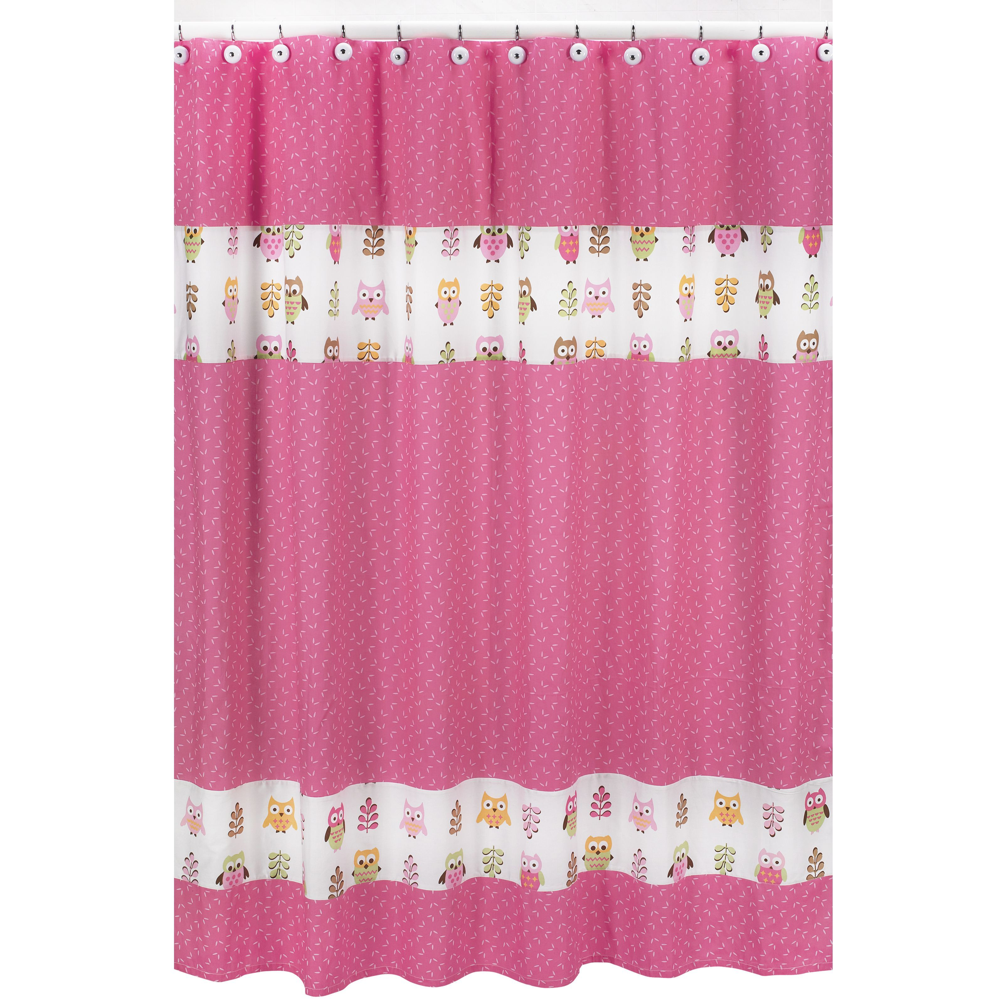 Sweet jojo designs pink happy owl kids shower curtain products