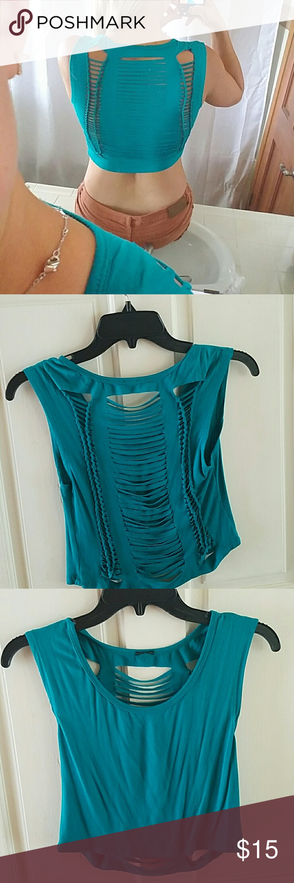 Teal Crop Top- Large The back of this top is super cool. I have it in Cream also. $25 for both or $15 for one. Tops Crop Tops