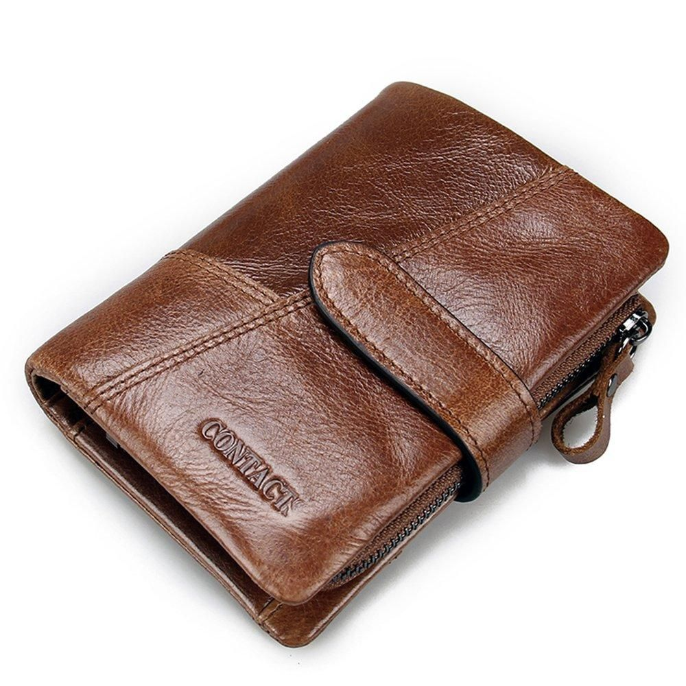 Men Genuine Leather Wallet Vintage Multi-card Slots Trifold Purse Coin Cluth Bag