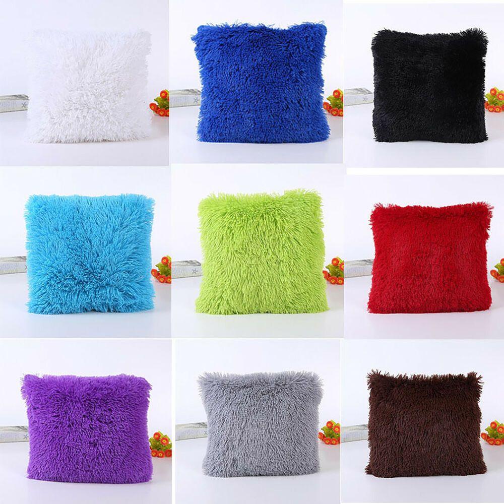 Soft Fur Fluffy Plush Pillow Case Sofa Waist Throw Cushion Cover Home Decor