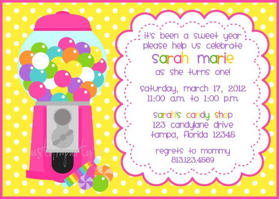 Bubble Gum Machine Candy Shop Invitation for by CustomParty4U