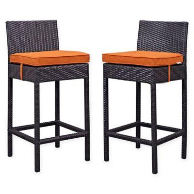 Modway Lift Outdoor Patio Bar Stools In Espresso Orange Set Of 2