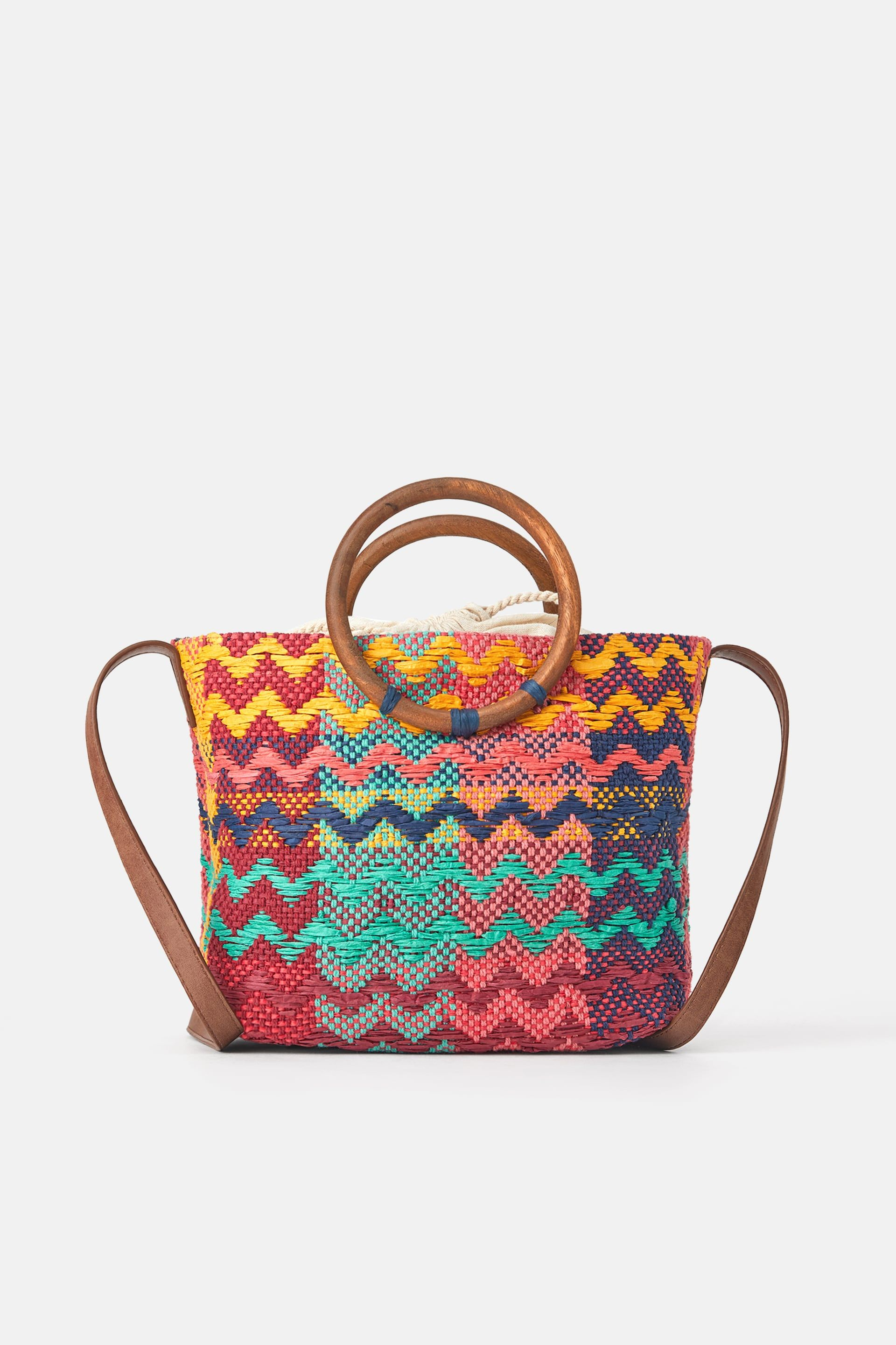 Multicoloured Tote Bag With Wooden Handles In 2020 Bags