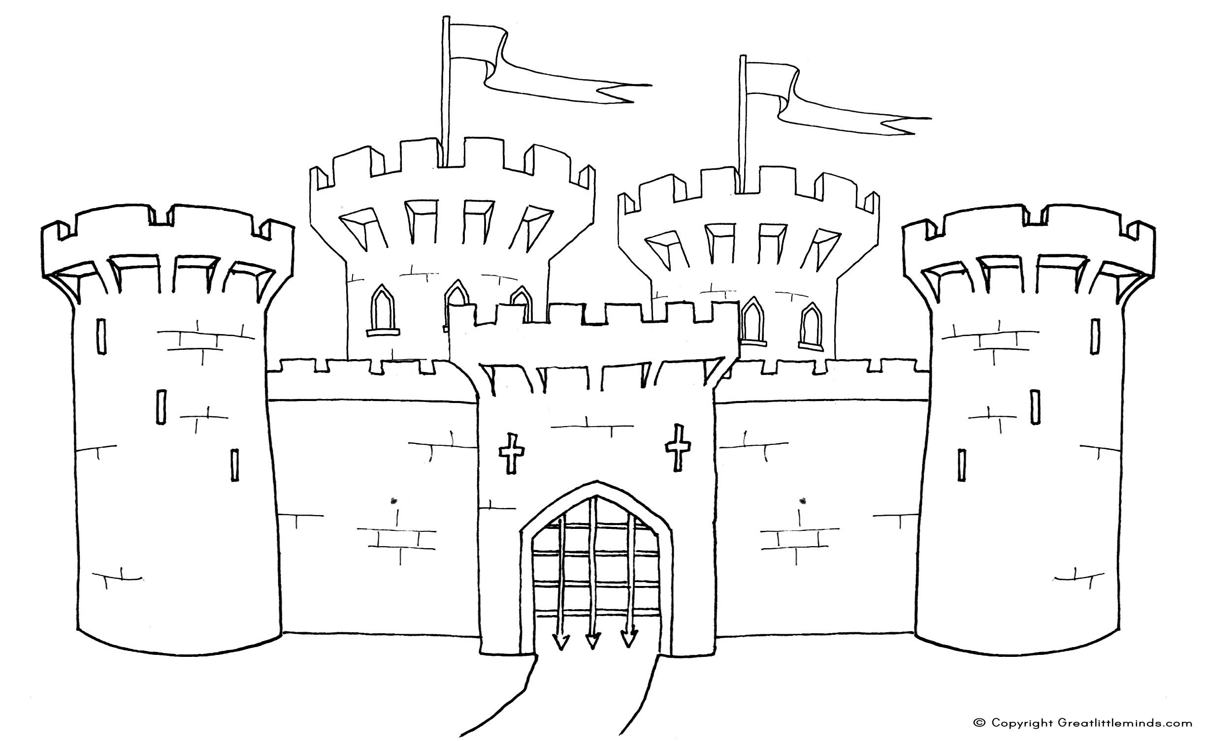 Medieval Castle Coloring Pages | Click on the image for a PDF ...