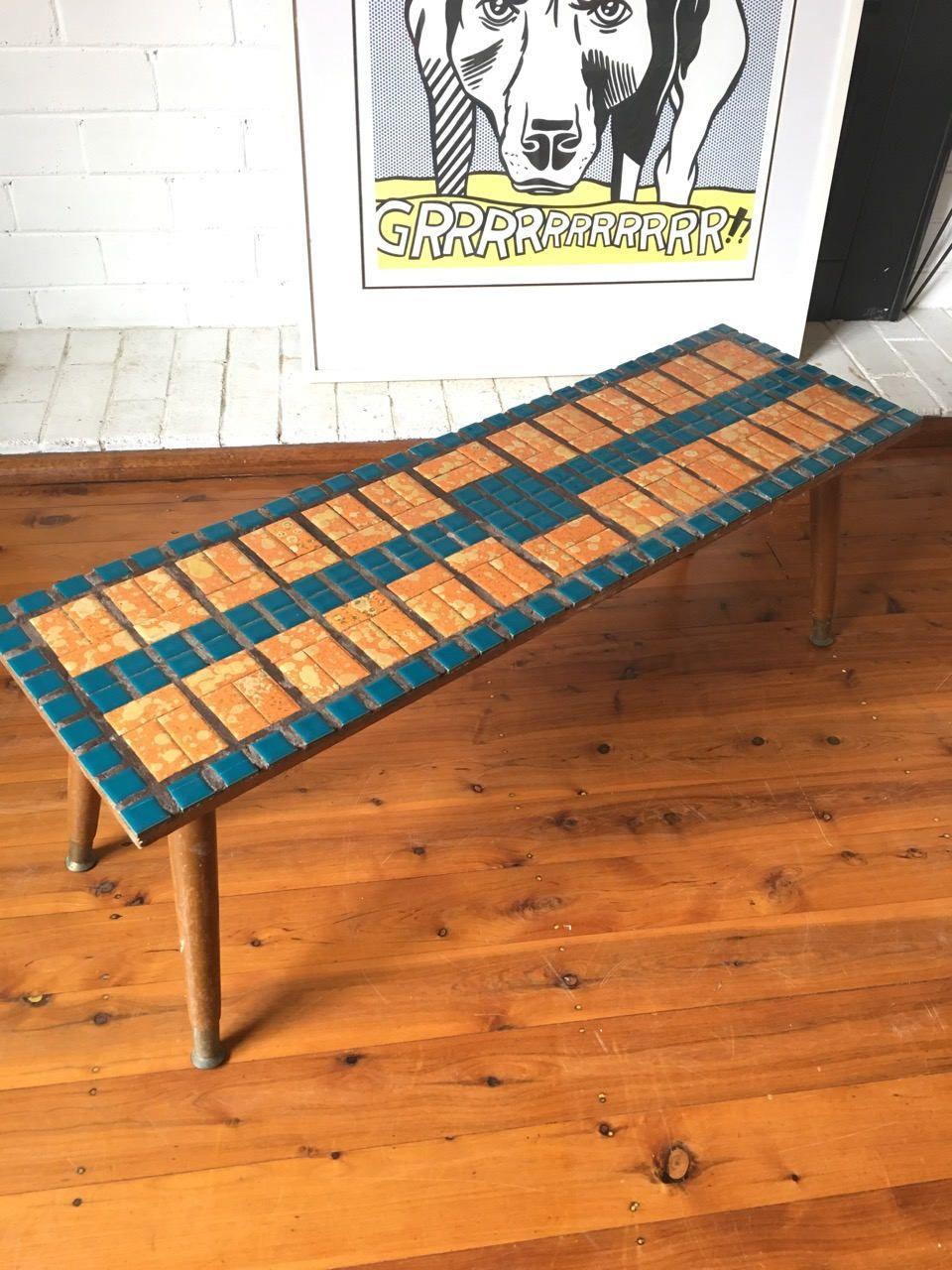 Vintage tiled coffee table in teal and orange pick up sydney vintage tiled coffee table in teal and orange pick up sydney geotapseo Choice Image