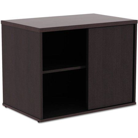 Alera Alera Open Office Low Storage Cabinet Credenza, 29-1/2 inch x 19-1/8 inch x 22-7/8 inch, Espresso, Brown