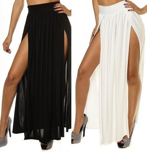7d52f0c0c9d Women High Waist Double Thigh High Slit Maxi Skirt Long Full Length Sexy S  M L