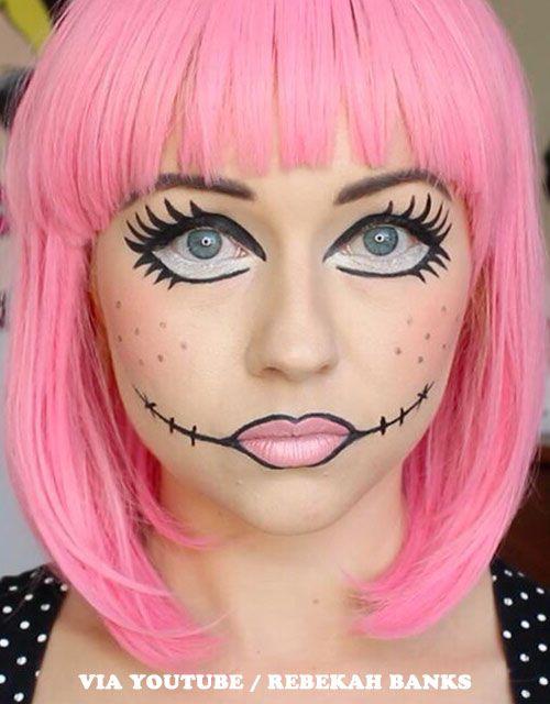 13 Halloween Makeup Ideas For Pink Hair Doll Makeup Halloween Doll Face Makeup Halloween Makeup