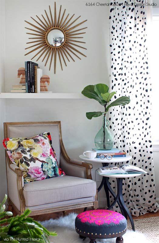 Cheetah Leopard Allover Spots Wall Stencil for Animal Print Decor | Royal Design Studio...love it on the drapery!