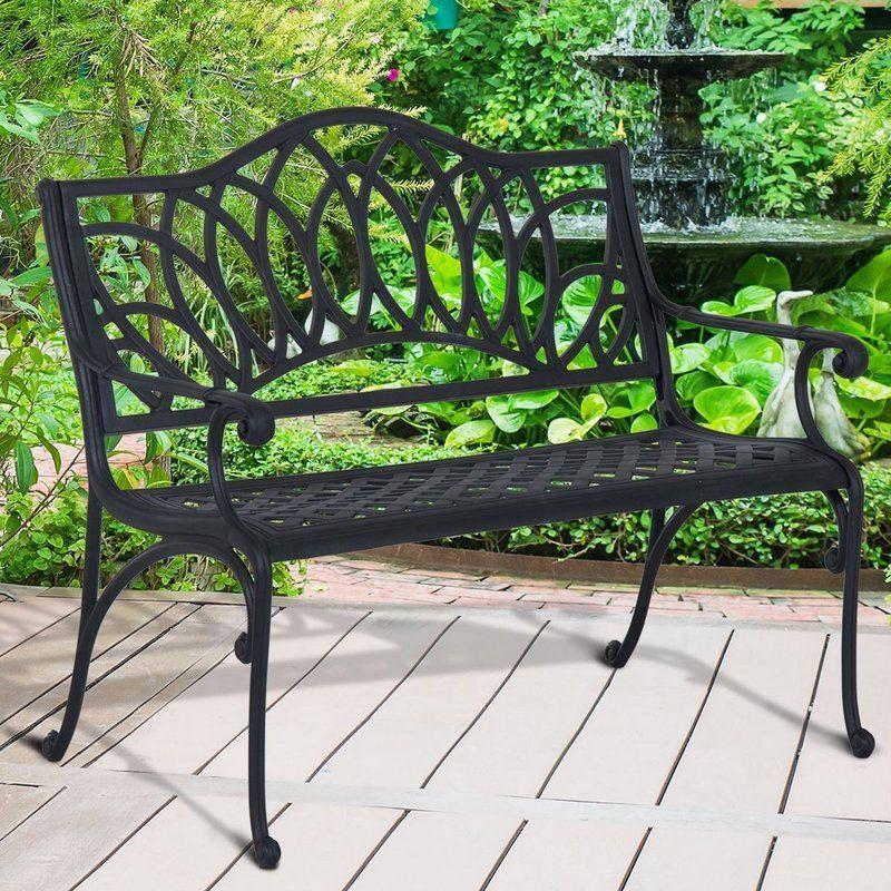 Brazell Decorative Lotus Flower Pattern Cast Aluminum Garden Bench Outdoor Bench Bench Garden Bench