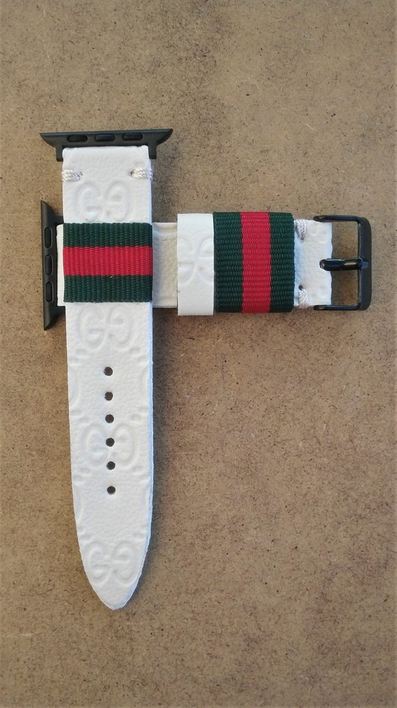 3013a4848c8 Authentic Remanufactured cream gucci Handmade GUCCI Apple Watch lv Band  Series 1 2 3 - 38 mm