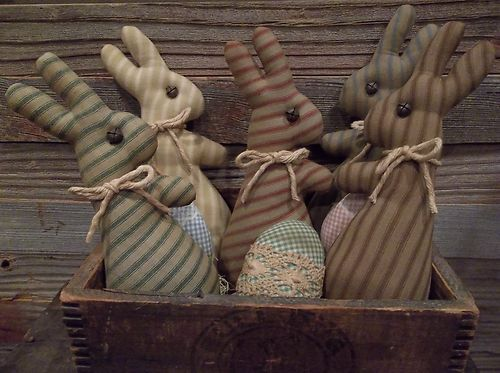 Primitive Handmade Ticking Bunny Bowl Fillers Spring and ...