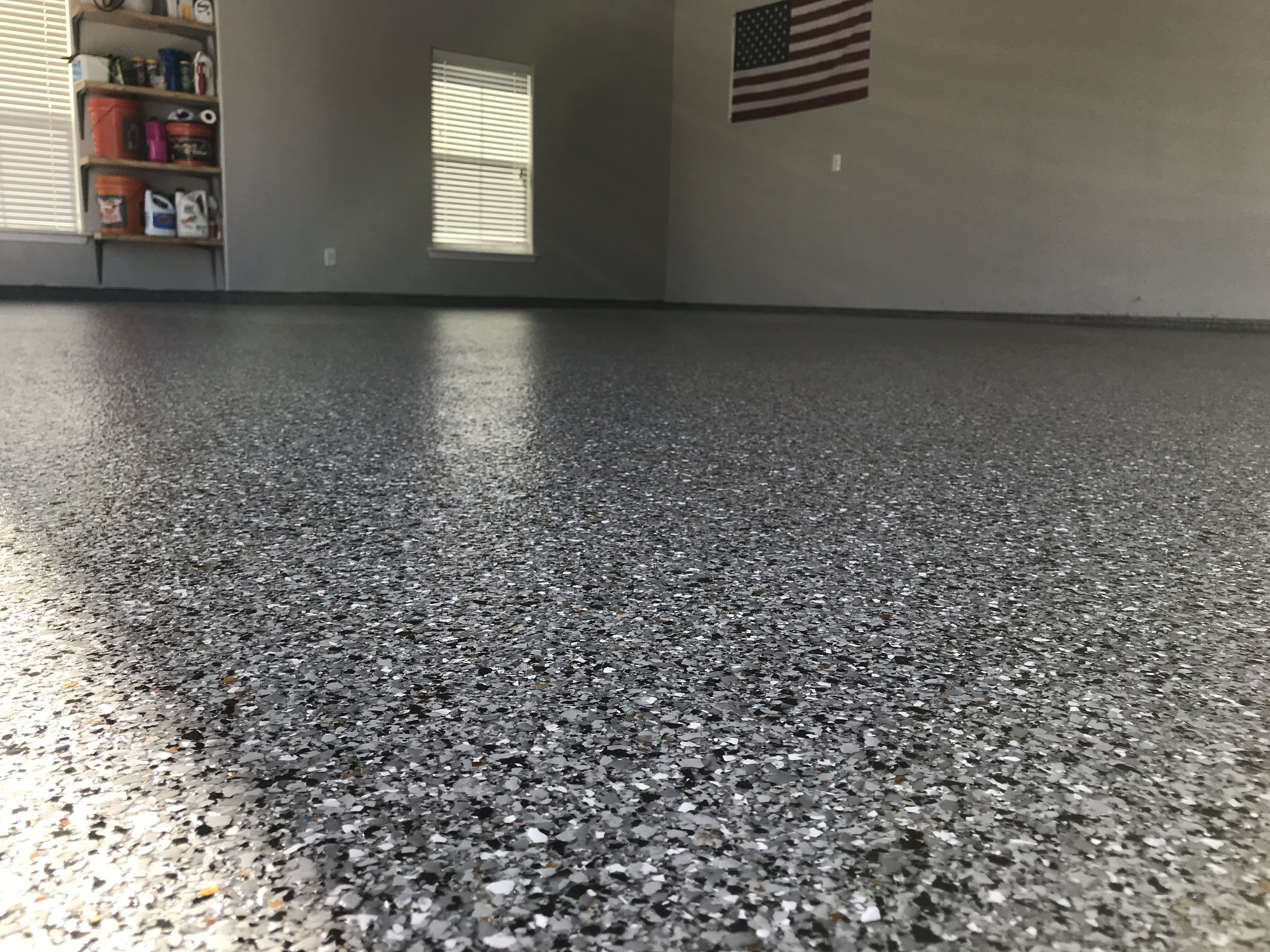 Granite Marble W White Polyaspartic Garagefloors Customfloor Customgarage Coating Floorpaint E Flooring Contractor Garage Floor Garage Floor Coatings