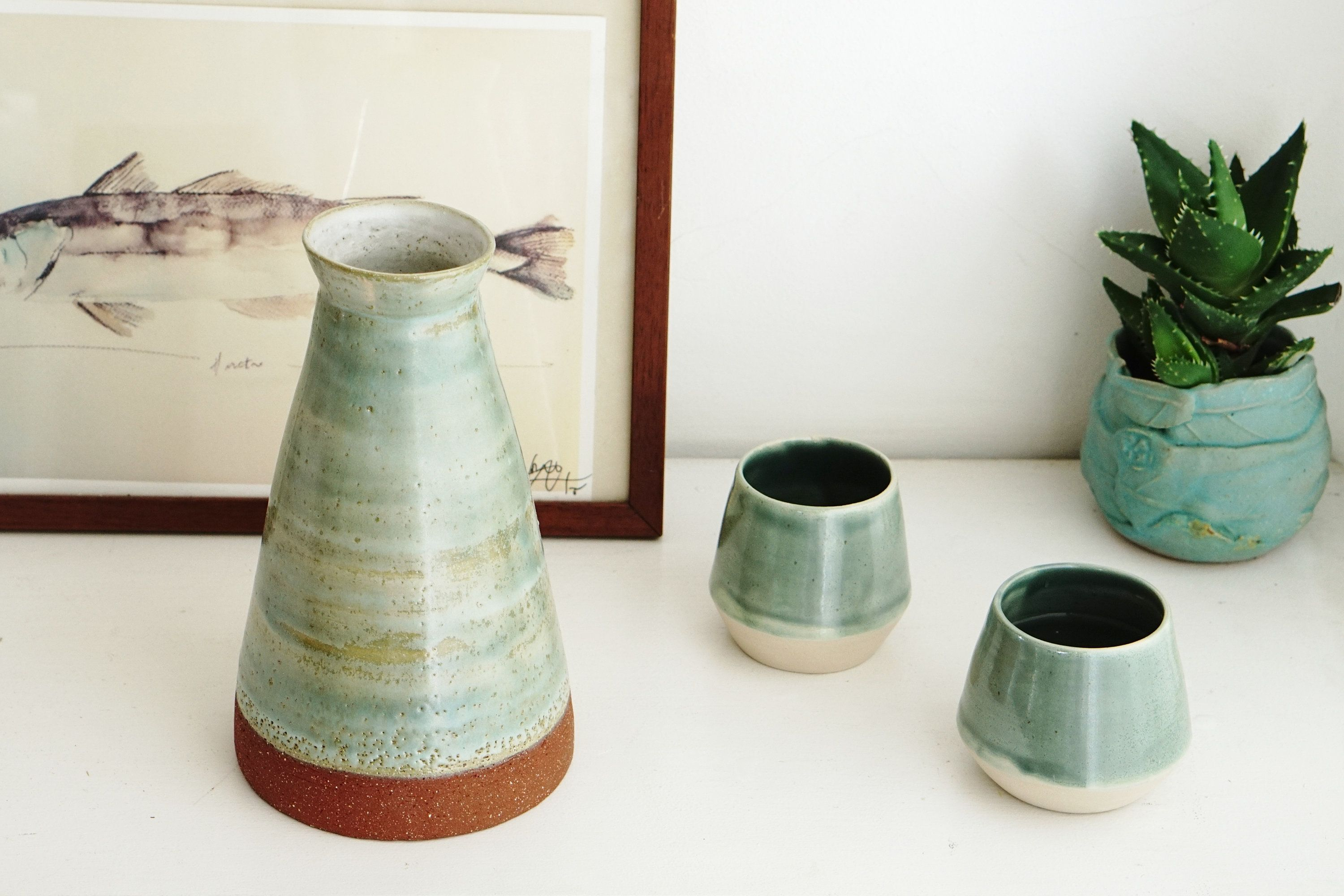 Pottery Dinnerware, ceramic Glass and Pitcher, Rhombus Collection ...