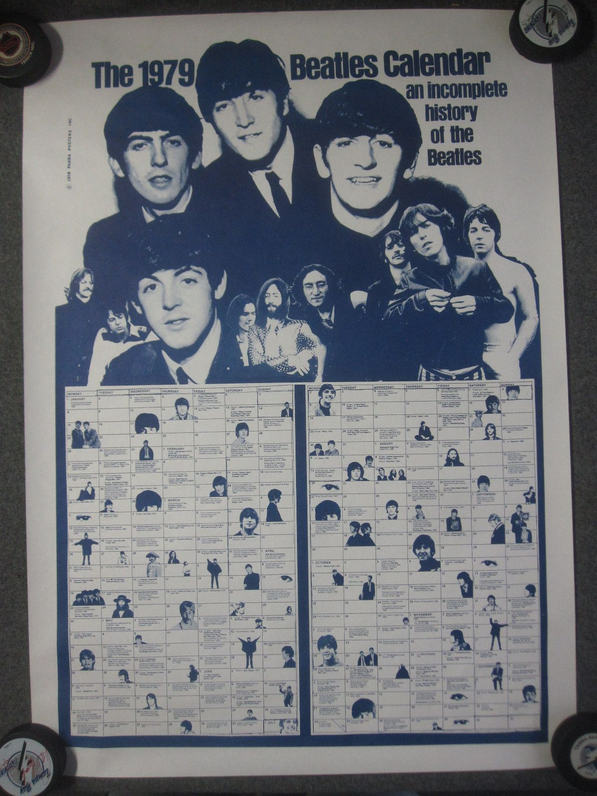 The Beatles 1979 Calendar Poster Rare Excellent Shape Original
