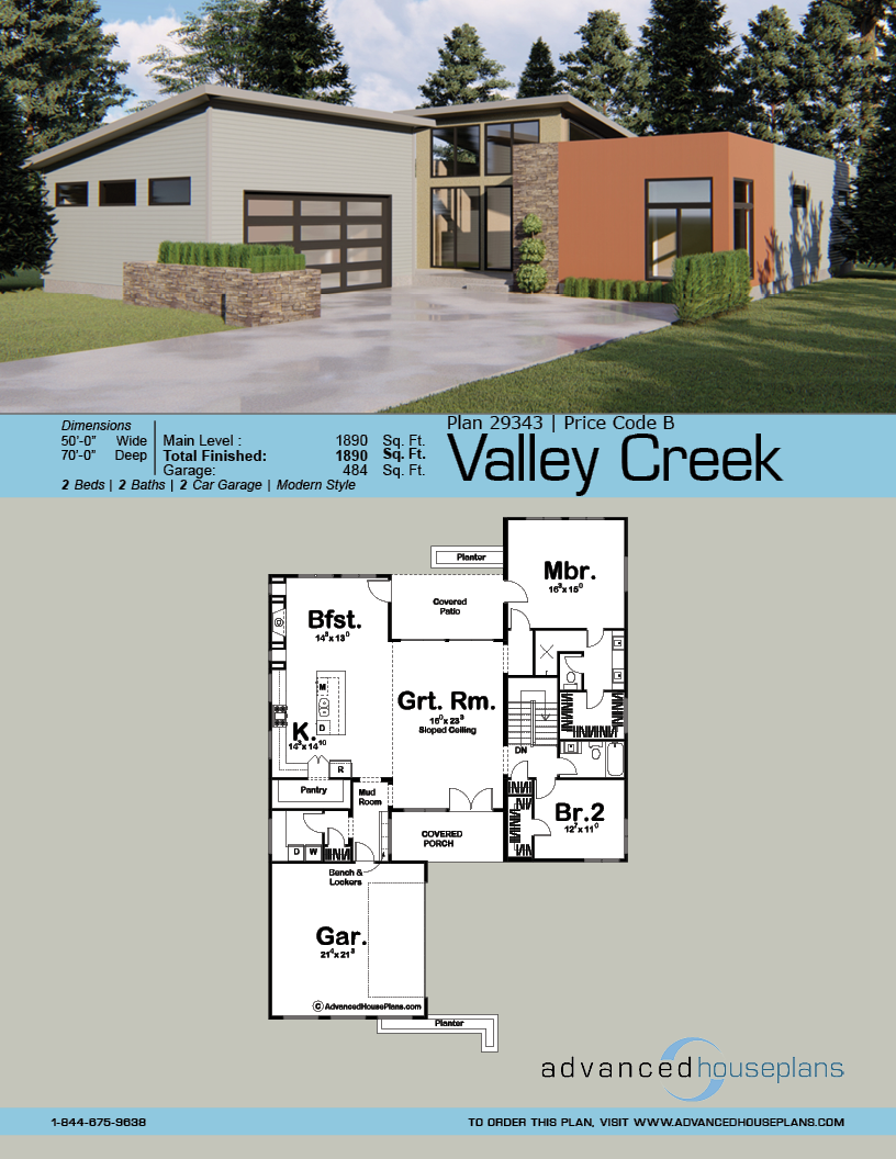 1 Story Modern House Plan Valley Creek Modern Style House Plans House Plans Modern House Plan