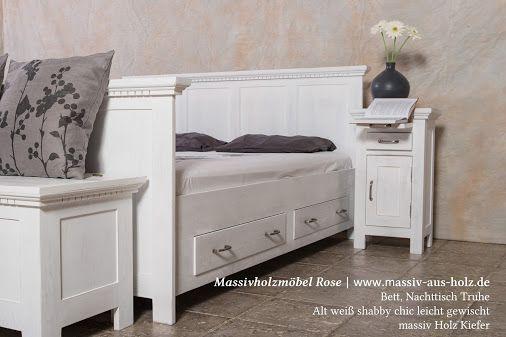 Schlafzimmermöbel, Alt weiß - leicht shabby chic gewischt, #massiv - schlafzimmer kiefer massiv