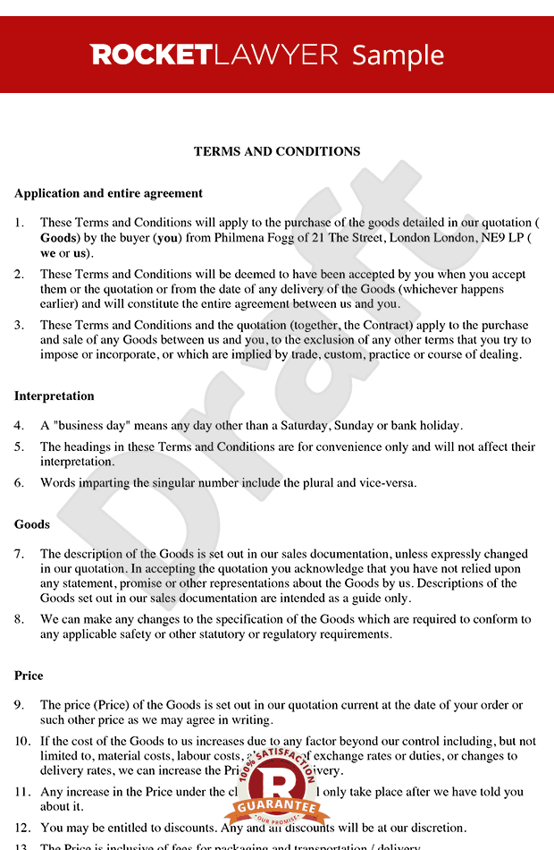 Terms And Conditions Template Sample Terms And Conditions Template Termsfeed By Termsfeed Com There Are Business Mentor Conditioner Business Customer