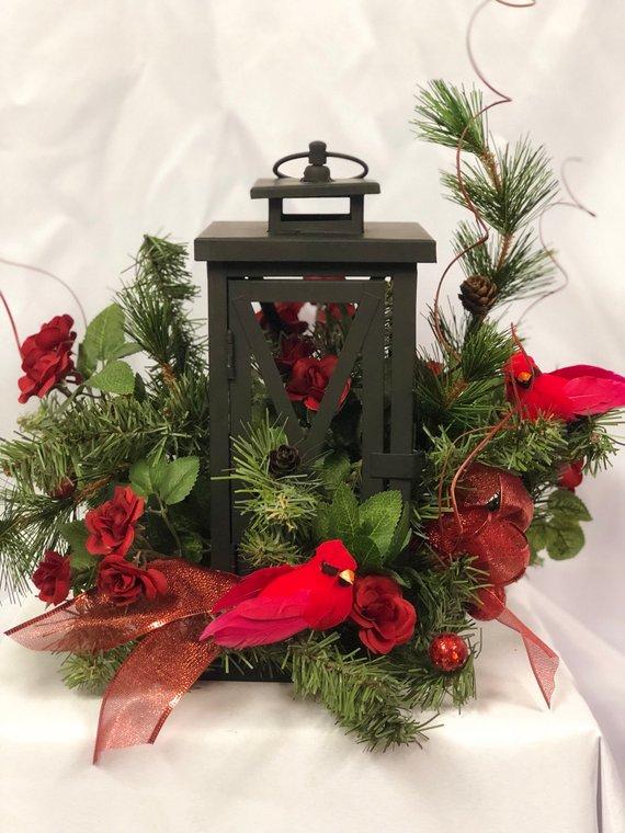 Lantern Centerpiece Christmas Table Decor Arrangement Cardinal