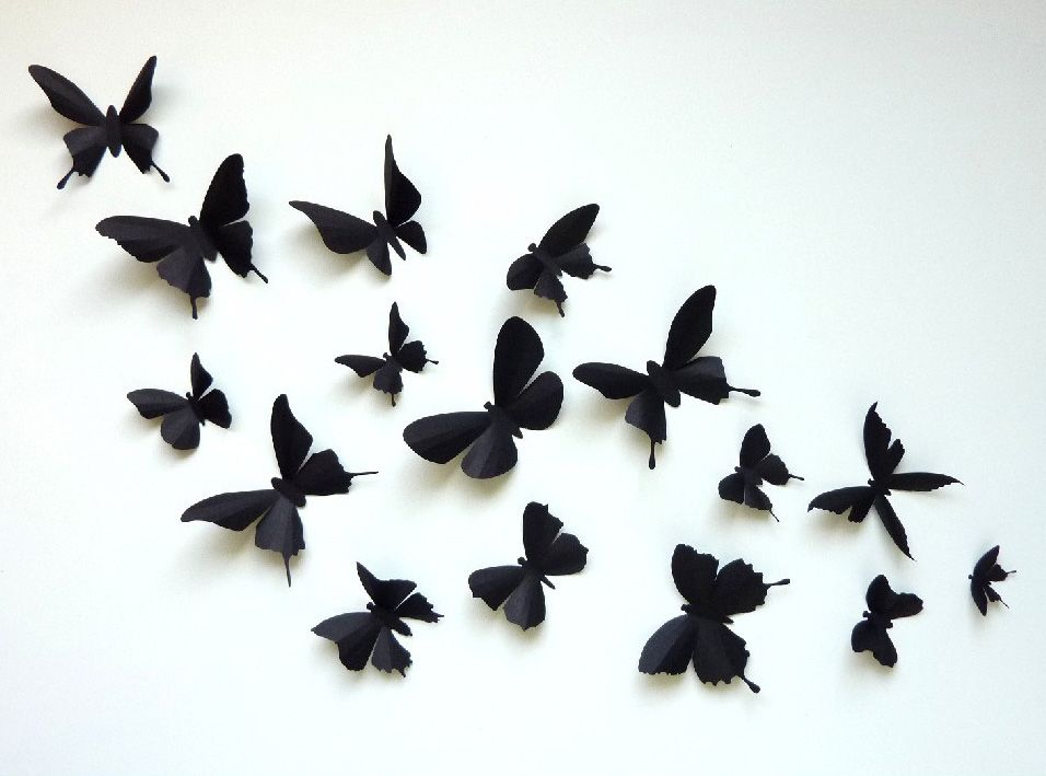 3d Wall Butterflies 60 Assorted Black Butterfly Silhouettes Etsy