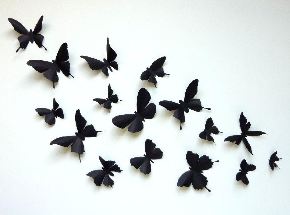 3D Wall Butterflies - 60 Assorted Black Butterfly Silhouettes ...