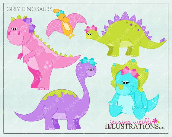 Girly Dinosaurs Cute Digital Clipart For Card By Jwillustrations