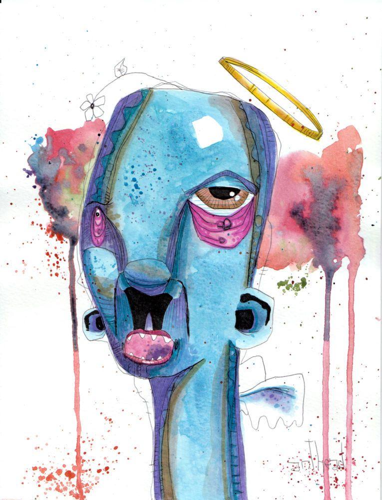 Angel Anthead 8 5x11 90 Paper Outsider Lowbrow Graffiti Art Folk
