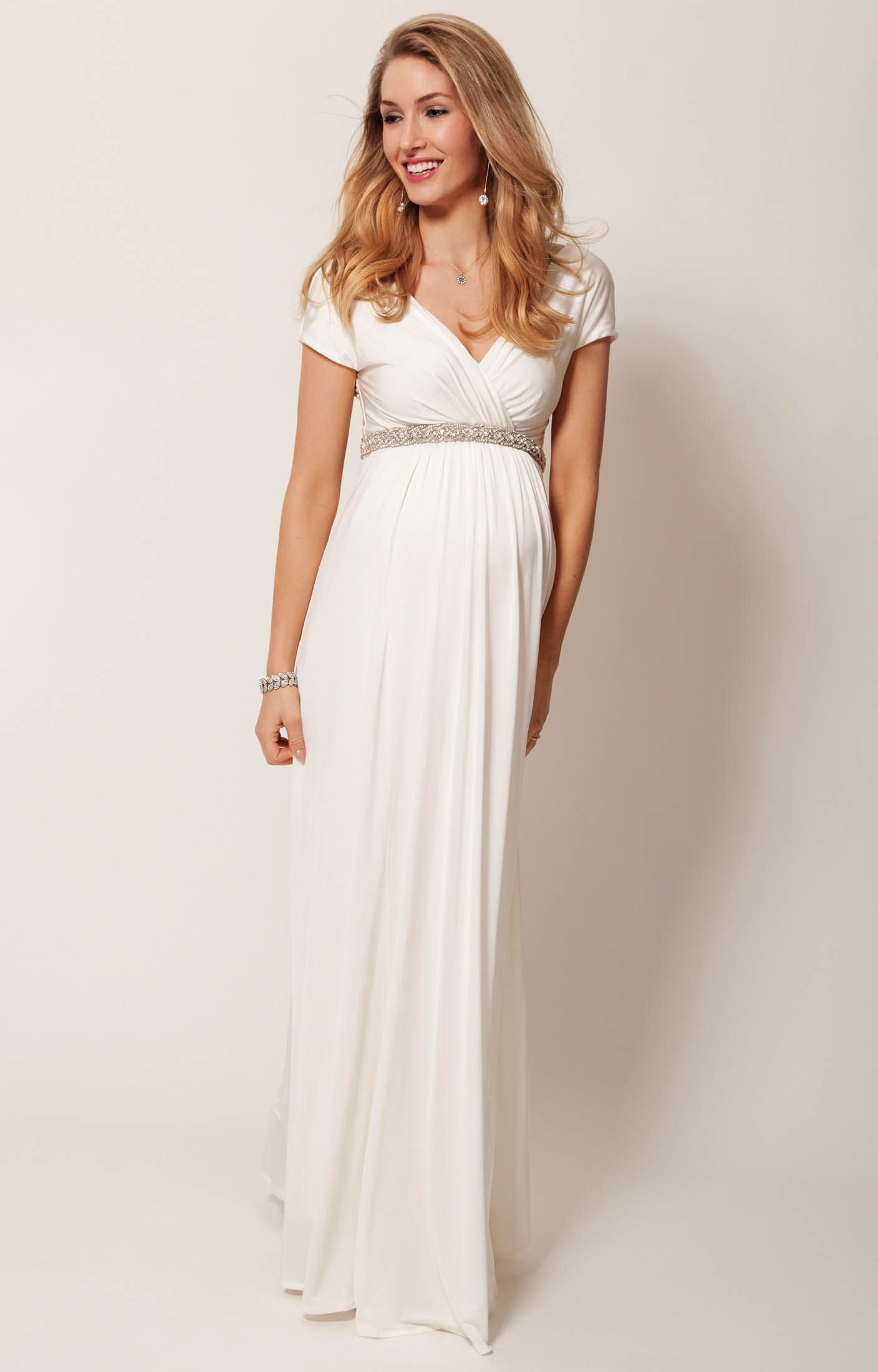 c607df31e61ef Alessandra long maternity bridal gown in ivory delivers a delicious Grecian  drape, so you'll look and feel your best, effortlessly.