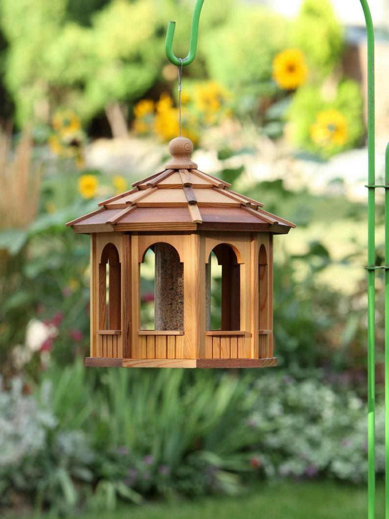 Cedar Bird Feeder Gazebo 8 Sided Octagon 16 In 2020 Gazebo Bird Feeder Wooden Bird Feeders Gazebo