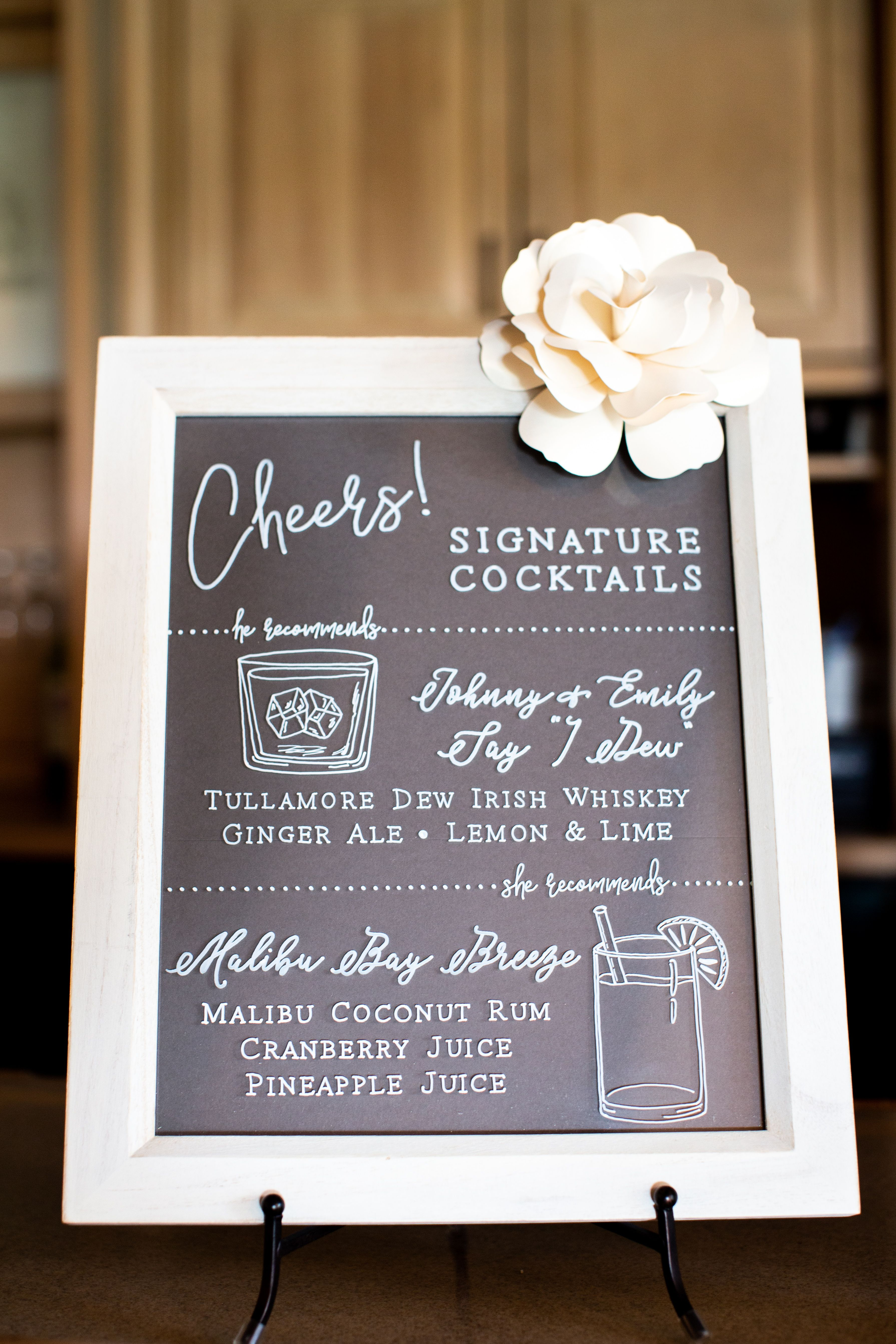 Cheers! This signature cocktail sign displays the bride
