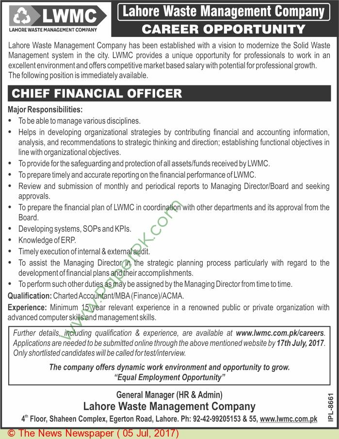 Lahore Waste Management Company Lahore Jobs Jobs In Pakistan